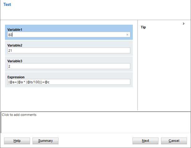 Dialog Test Input